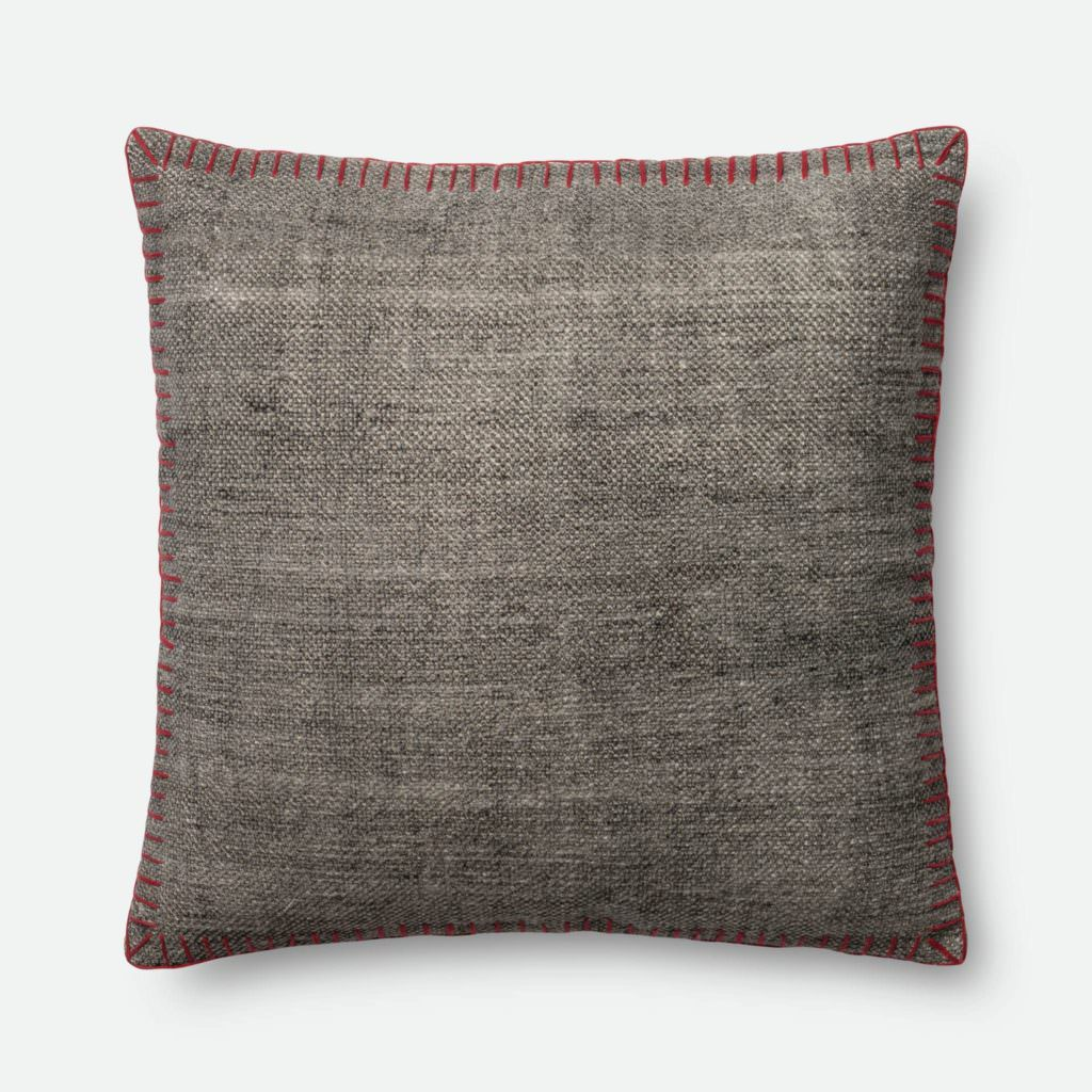 Magnolia Home P0435 Grey / Red Pillow