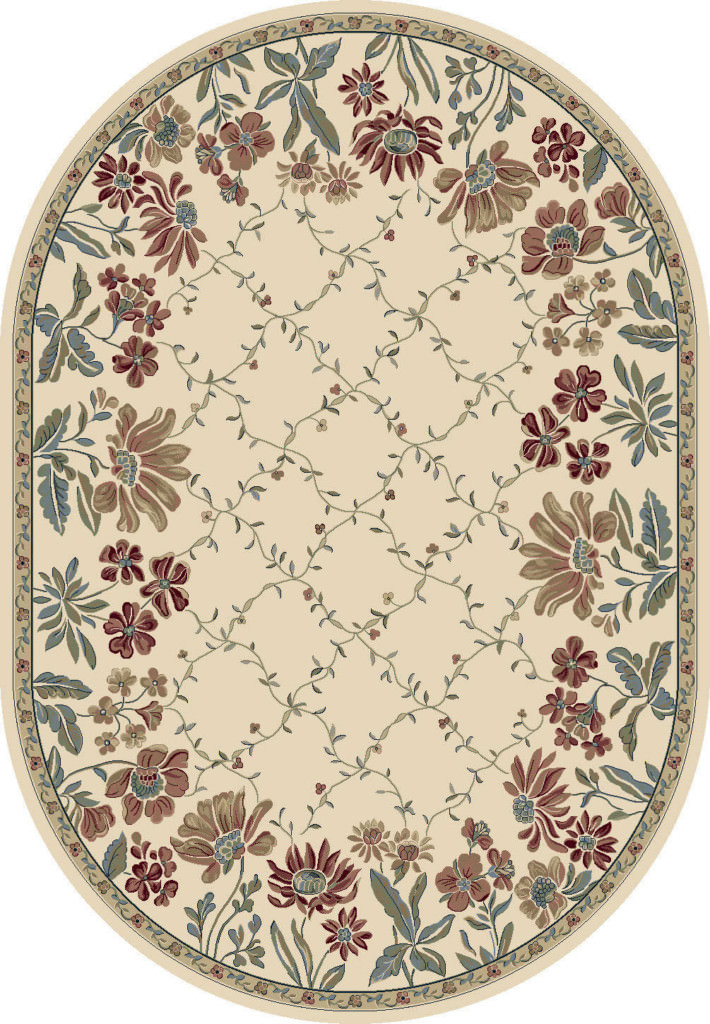 "Dynamic Ancient Garden 6'-7"" x 9'-6"" Oval 57084-6464 Ivory Rug"