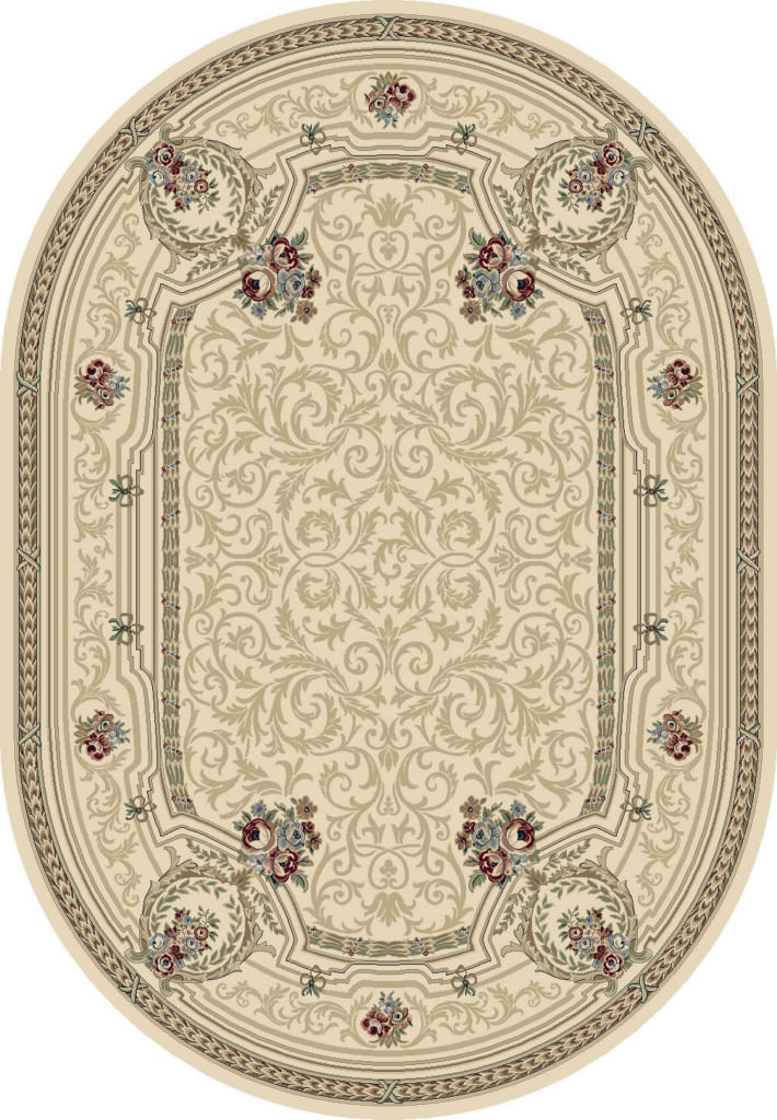 """Dynamic Ancient Garden 6'-7"""" x 9'-6"""" Oval 57091-6464 Ivory Rug"""