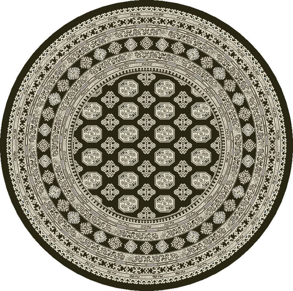 "Dynamic Ancient Garden 7'-10"" x 7'-10"" Round 57102-3636 Charcoal / Silver Rug"
