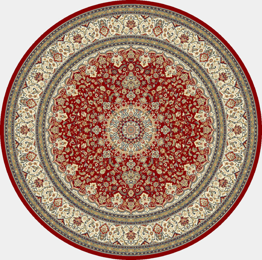 "Dynamic Ancient Garden 7'-10"" x 7'-10"" Round 57119-1414 Red / Ivory Rug"