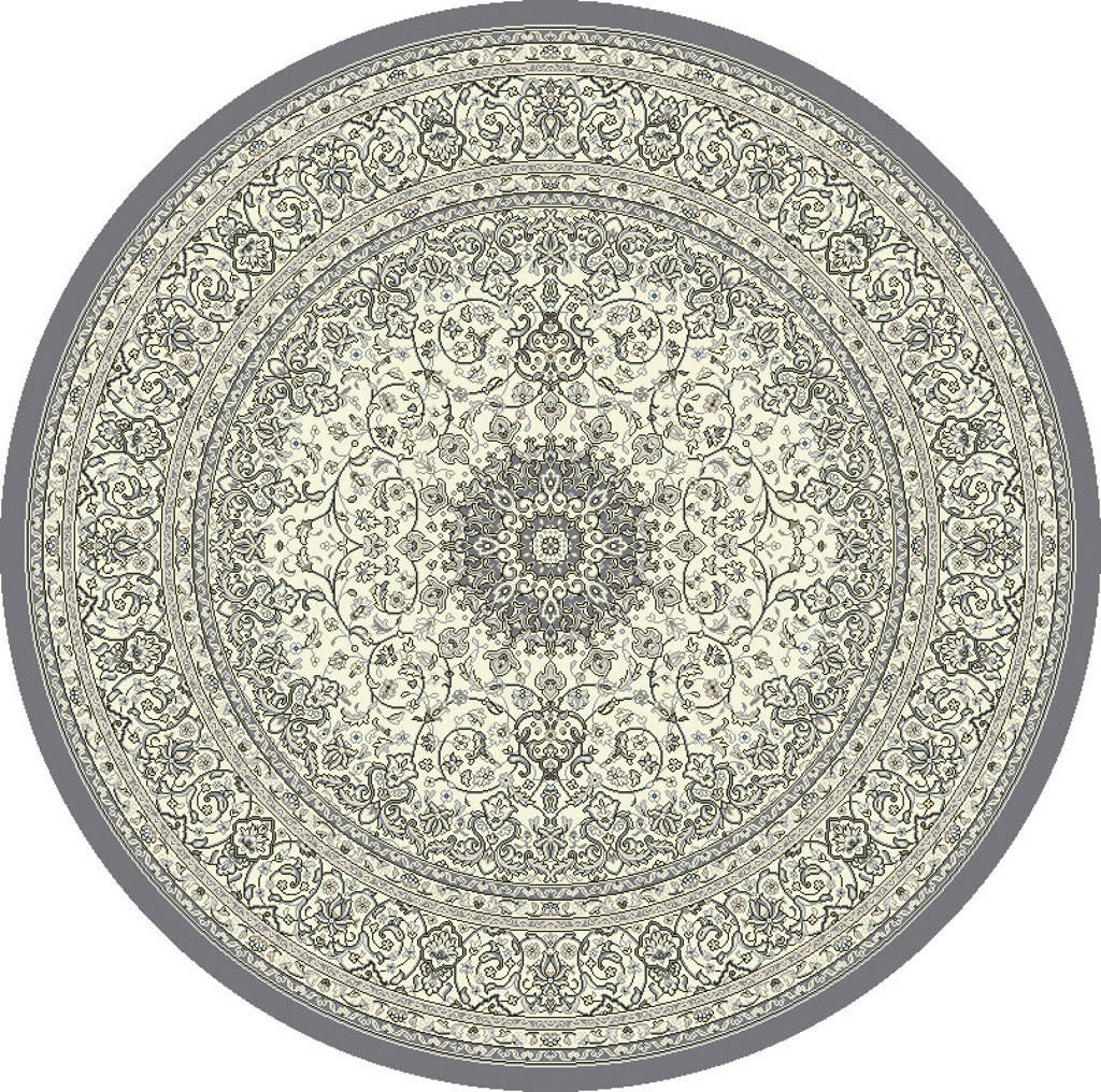 "Dynamic Ancient Garden 7'-10"" x 7'-10"" Round 57119-5666 Grey / Cream Rug"
