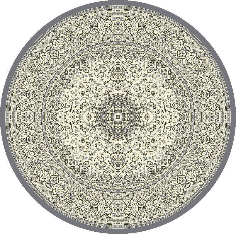 "Dynamic Ancient Garden 7'-10"" x 7'-10"" Round 57119-6656 Cream / Grey Rug"