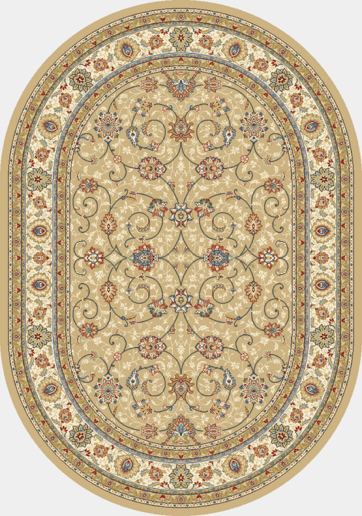"Dynamic Ancient Garden 6'-7"" x 9'-6"" Oval 57120-2464 Lt. Gold / Ivory Rug"