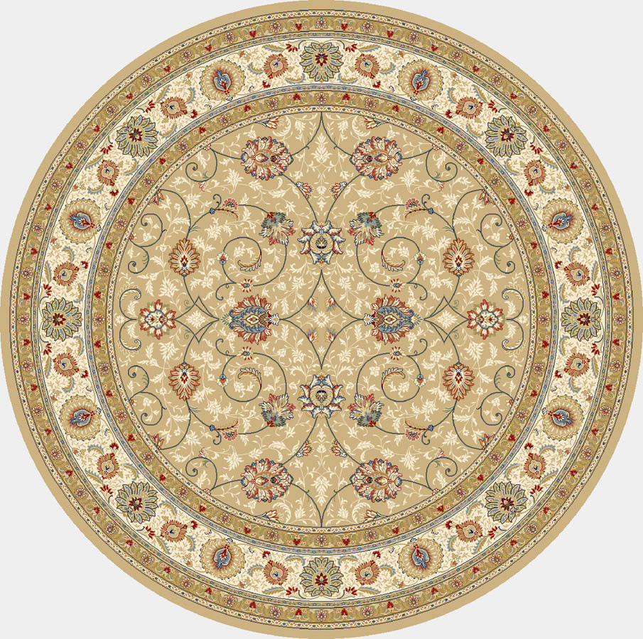 "Dynamic Ancient Garden 7'-10"" x 7'-10"" Round 57120-2464 Lt. Gold / Ivory Rug"