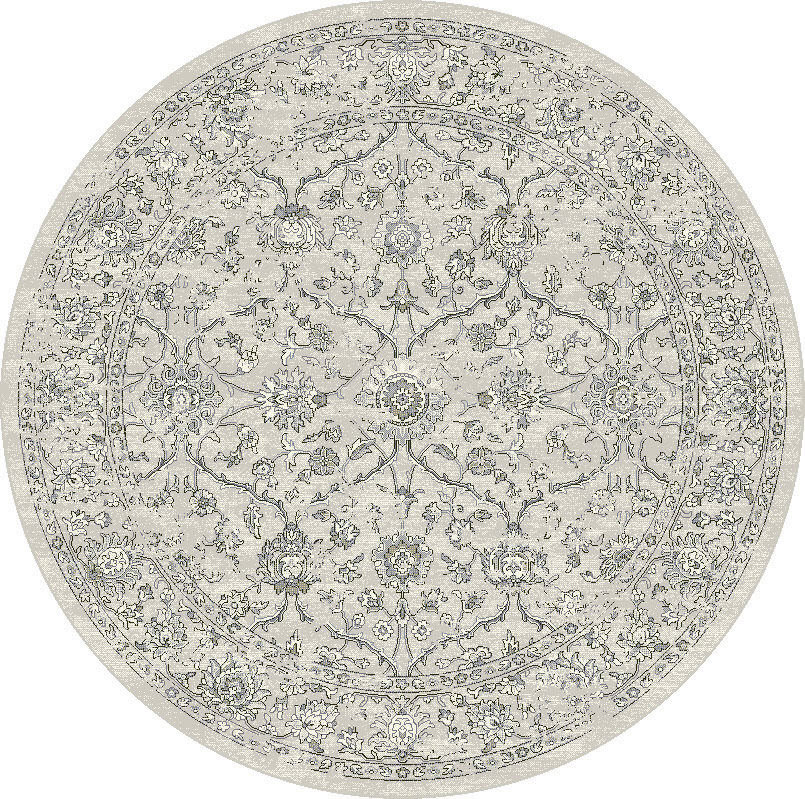 "Dynamic Ancient Garden 7'-10"" x 7'-10"" Round 57136-9696 Cream / Grey Rug"