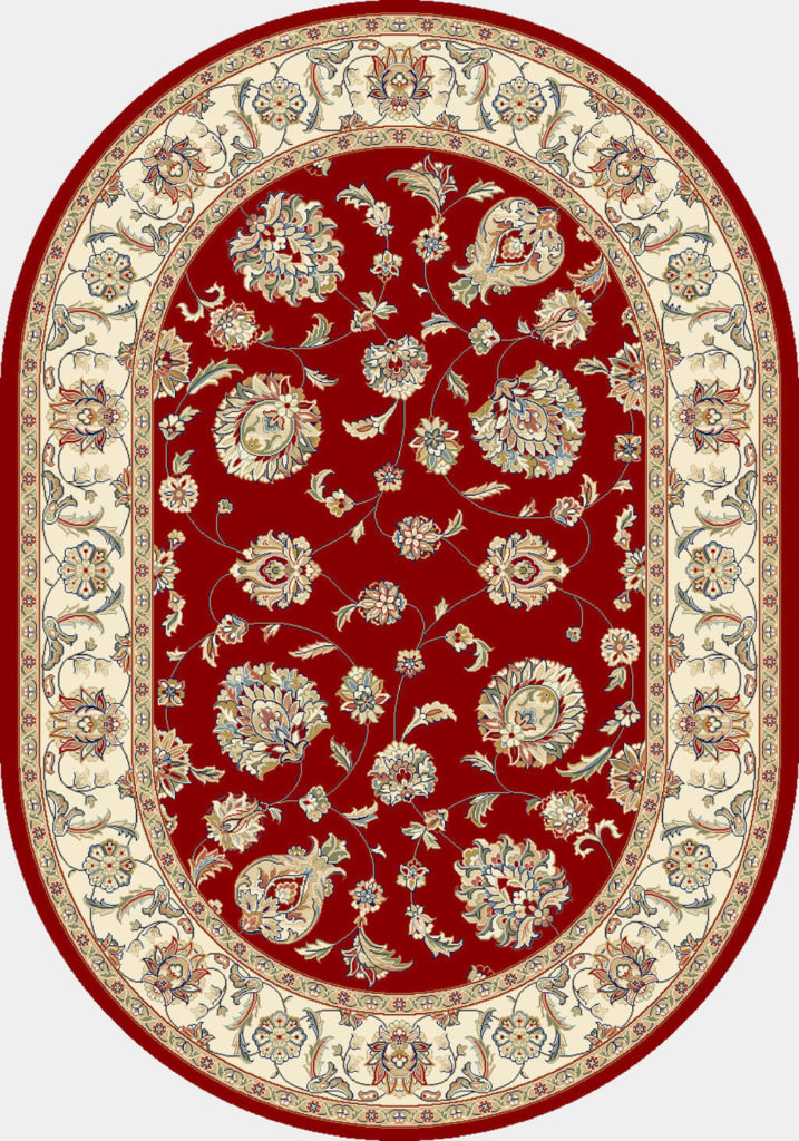 "Dynamic Ancient Garden 6'-7"" x 9'-6"" Oval 57365-1464 Red / Ivory Rug"