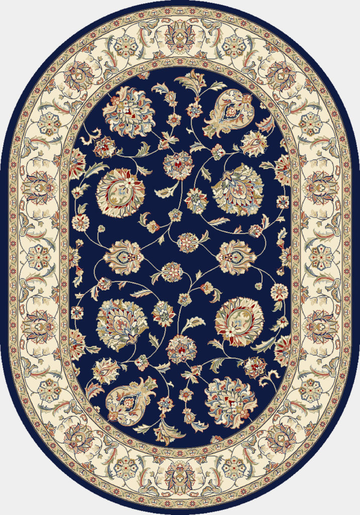 "Dynamic Ancient Garden 6'-7"" x 9'-6"" Oval 57365-3464 Blue / Ivory Rug"