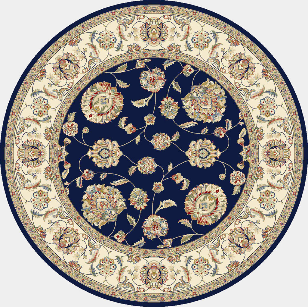 "Dynamic Ancient Garden 7'-10"" x 7'-10"" Round 57365-3464 Blue / Ivory Rug"