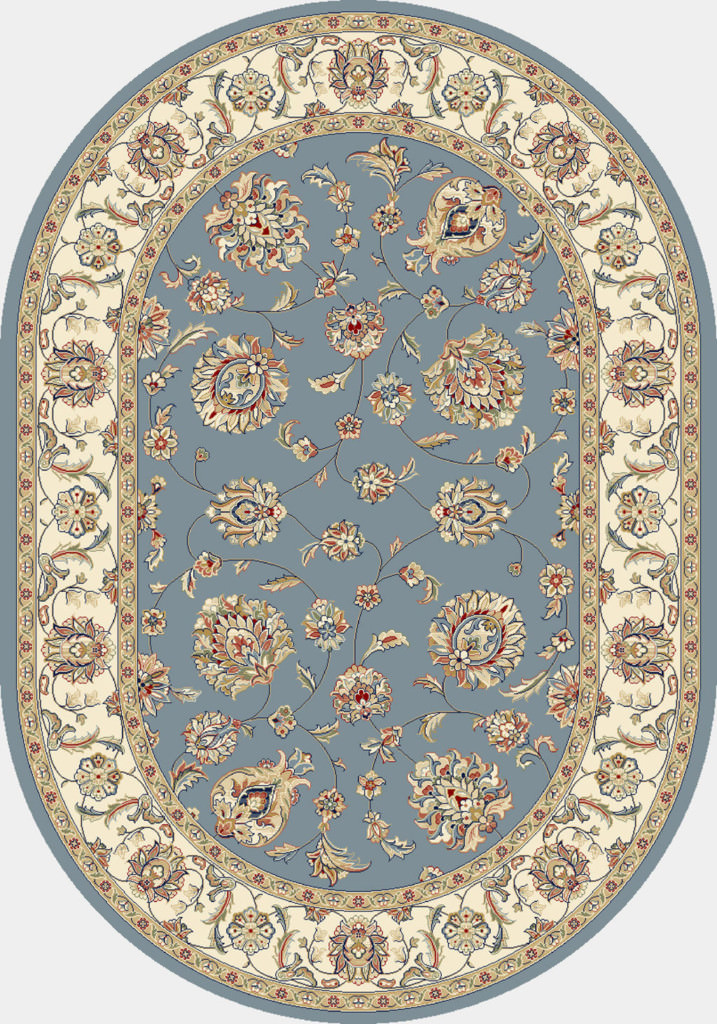 "Dynamic Ancient Garden 6'-7"" x 9'-6"" Oval 57365-5464 Lt. Blue / Ivory Rug"