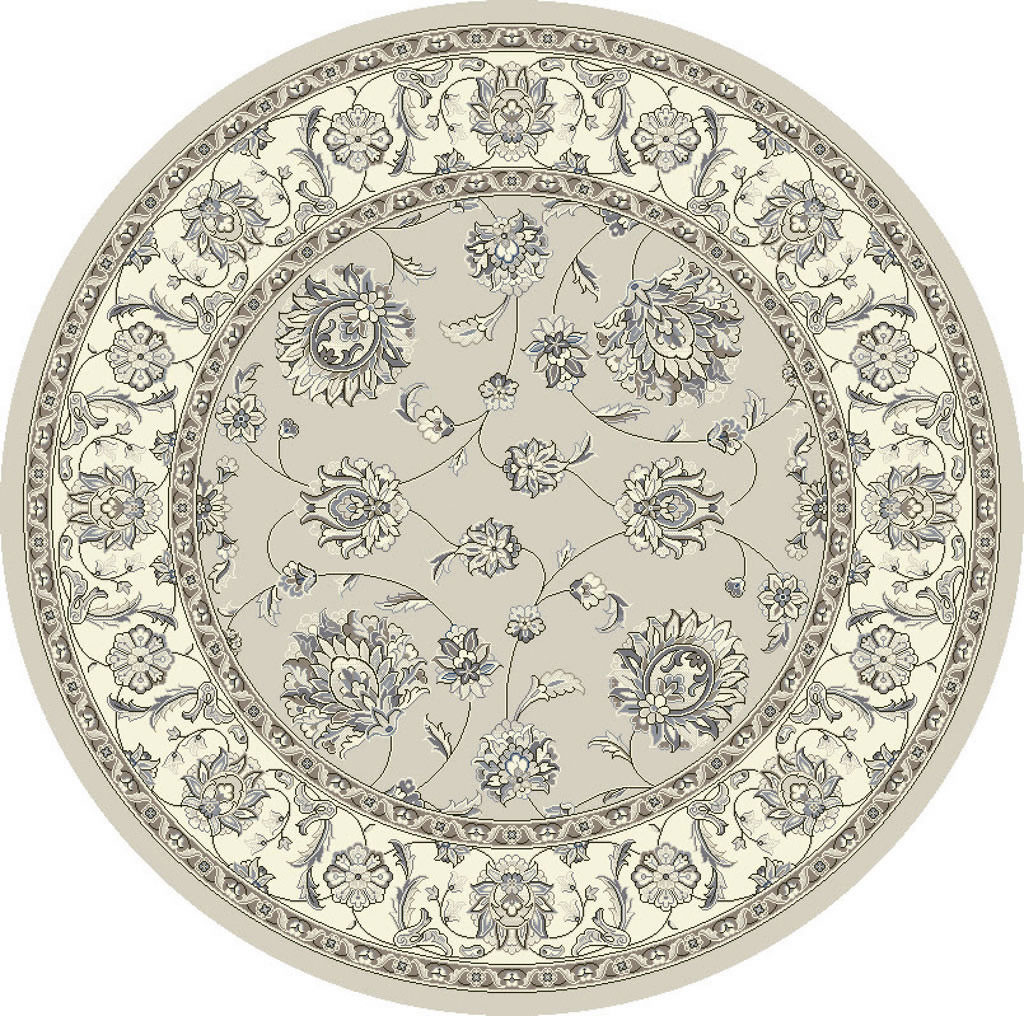 "Dynamic Ancient Garden 7'-10"" x 7'-10"" Round 57365-9666 Soft Grey / Cream Rug"