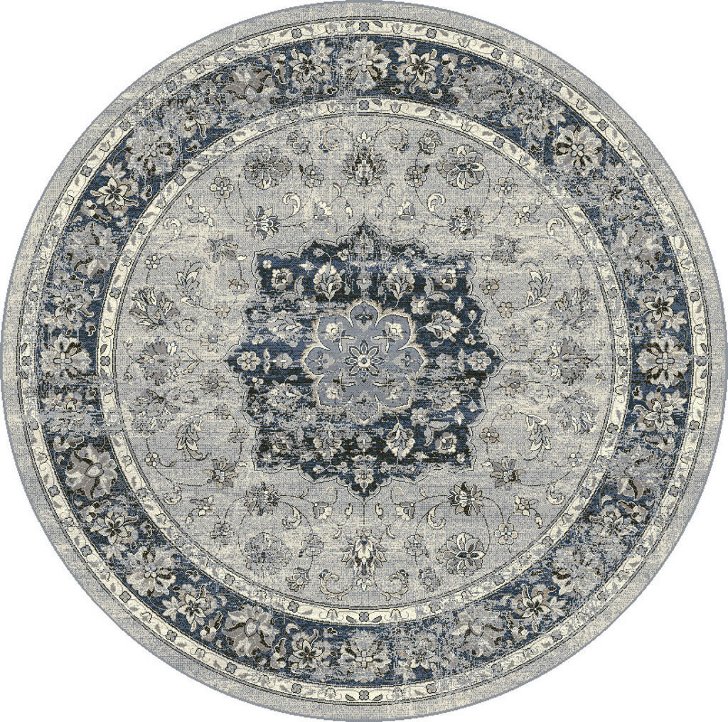 "Dynamic Ancient Garden 7'-10"" x 7'-10"" Round 57559-9686 Silver / Blue Rug"