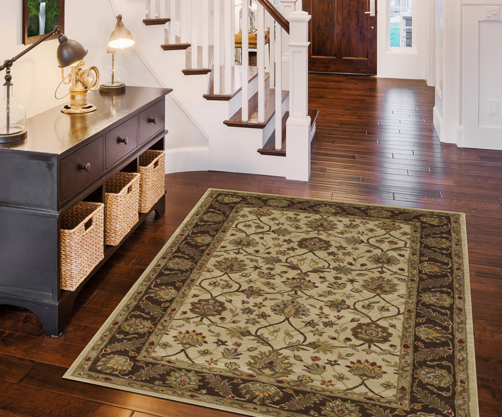 Dalyn Jewel JW33 Ivory / Chocolate Rug Room View