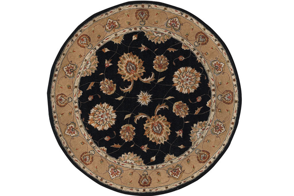 "Dynamic Jewel 7'-10"" x 7'-10"" Round 70230-92 Black Rug"