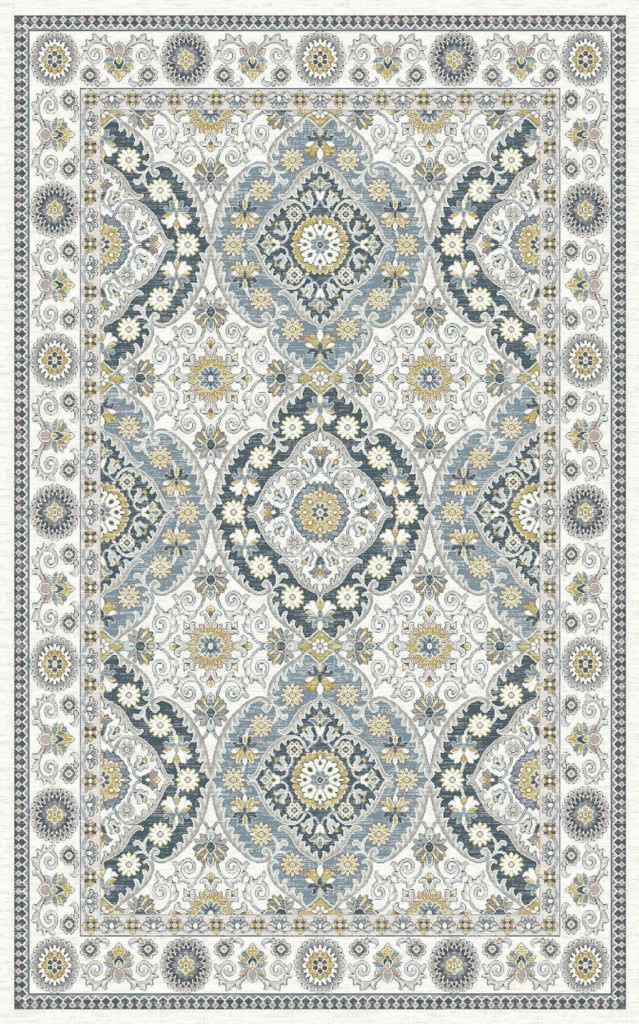 "Dynamic Venice 9'-2"" x 12'-10"" 1578-105 Cream / Blue Rug"