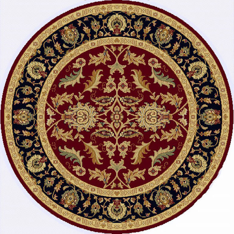 "Dynamic Yazd 5'-3"" x 5'-3"" Round 1744-310 Red Rug"
