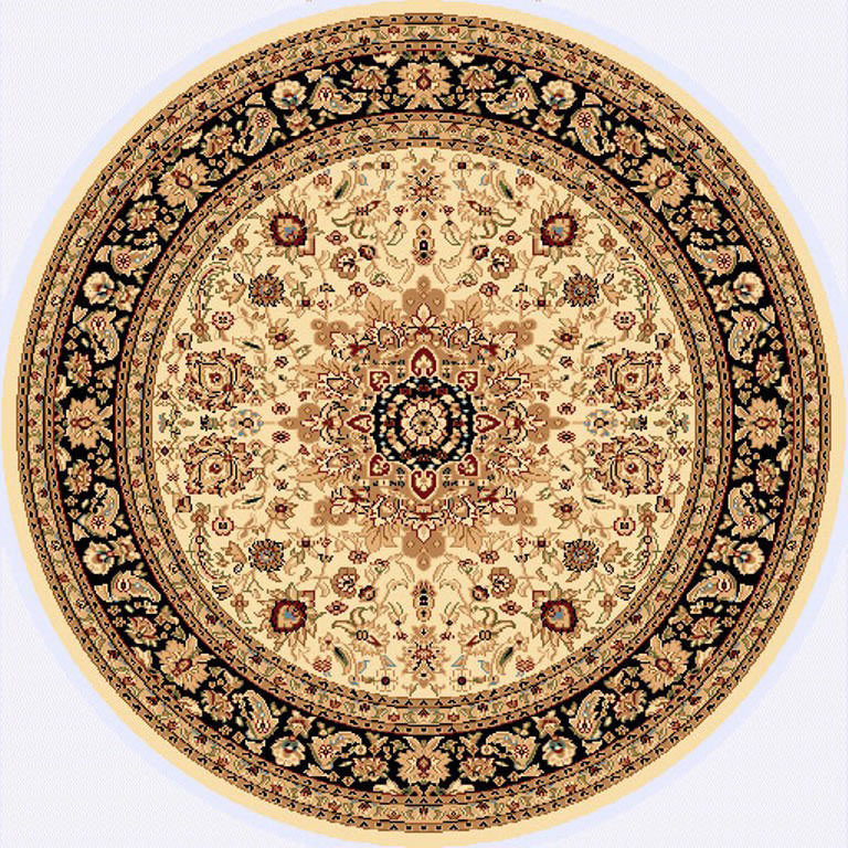 "Dynamic Yazd 5'-3"" x 5'-3"" Round 2800-190 Cream-Black Rug"