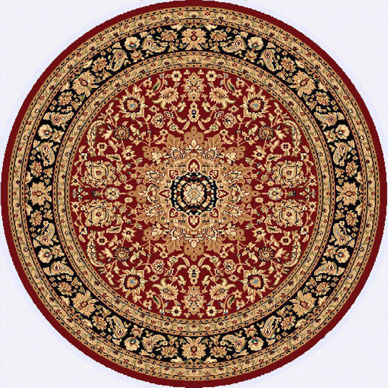 "Dynamic Yazd 5'-3"" x 5'-3"" Round 2800-330 Red-Black Rug"