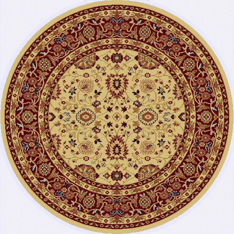 "Dynamic Yazd 5'-3"" x 5'-3"" Round 2803-130 Cream-Red Rug"