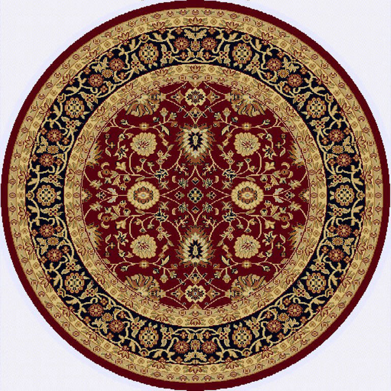 "Dynamic Yazd 5'-3"" x 5'-3"" Round 2803-390 Red-Black Rug"