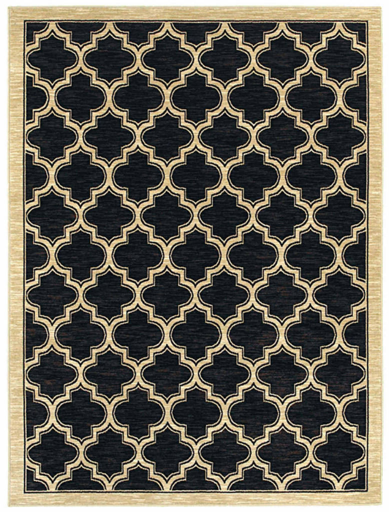 "Dynamic Yazd 5'-3"" x 7'-7"" 2816-90 Black Rug"